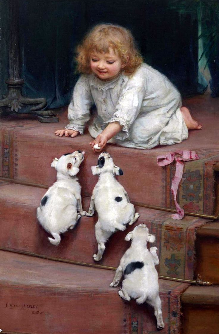 Открытки девочка с собакой, уже маркой