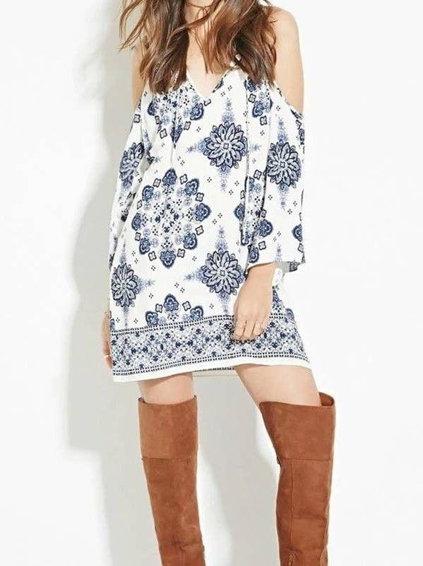 Vestido Recorte nos Ombros - Compre Online