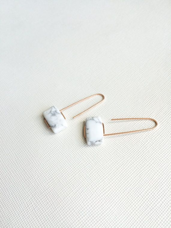 Pillow shaped white howlite stone paired with silver, gold, or rose gold approx. 1.75 in height Because this is made to order, there will