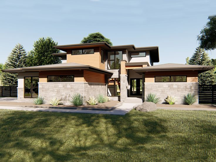 050h 0187 Two Story Contemporary House Plan With Two Story Great Room Prairie Style Houses Prairie House Advanced House Plans
