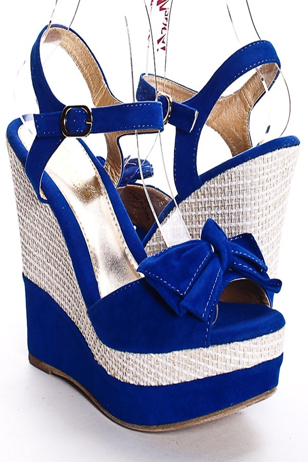 ROYAL BLUE FAUX SUEDE BOW ANKLE STRAP WOVEN PLATFORM WEDGES PRICE  $23.99  #wedges #shoes