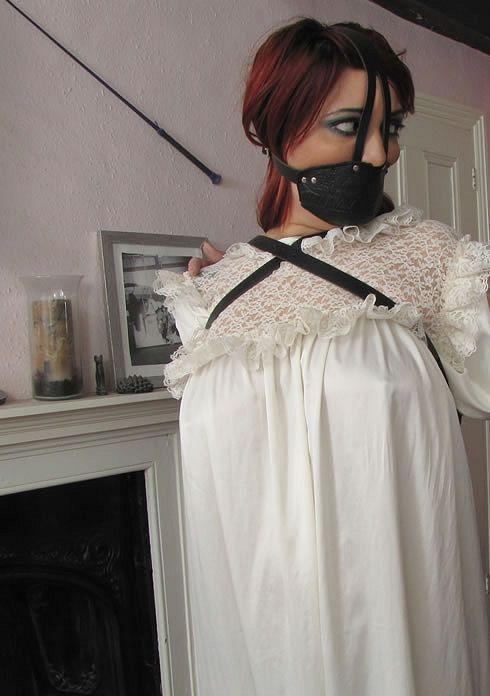 white silky nightgown with muzzlegag and armbinder ...