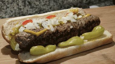 "Chicago Bears ""Chicago Dog"" Burger"