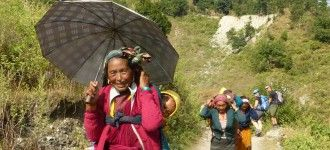 Local people leaving their village to Kathmandu.
