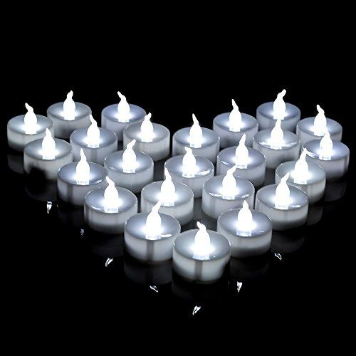 24 pcs Battery Operated Flameless LED Tealights Candles White Bright Flickering Candles lights Electronic candle