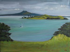 Browns Island and Rangitoto by Andras Kalmar Oil ~  x