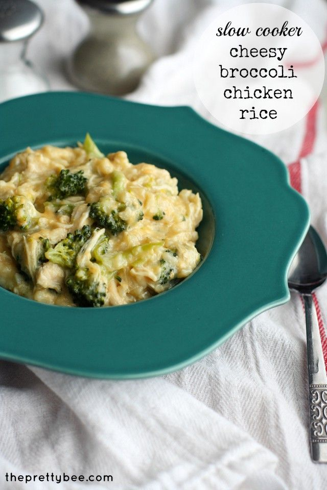 Easy cheesy broccoli chicken rice recipe, dairy free and gluten free. Crockpot recipe but you'll need to stay with it or be home