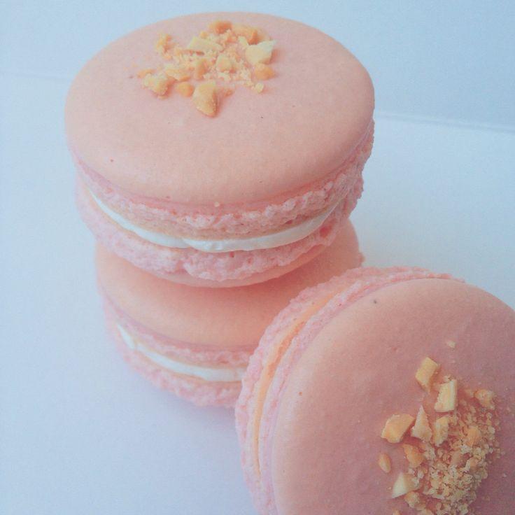 Cranberry Almond French Macarons. www.honeybutterdesserts.com  #toronto #dessert #macarons #frenchmacarons #almond #cranberry #cranberryalmond