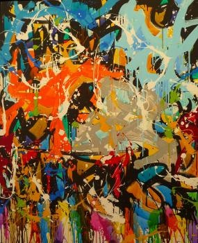 """JonOne """"Heart of gold"""" encre et acrylique sur toile, 119 x 89 cm, 2012"""