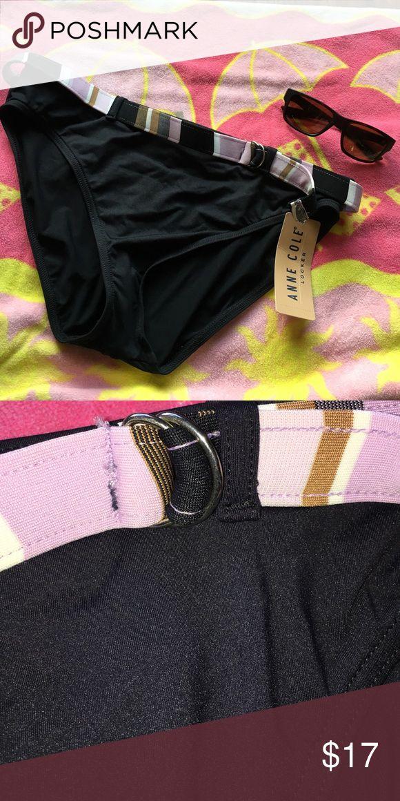 Anne Cole Belted Bikini Bottom Black XL NWT An Anne Cole swimwear bikini bottom in size XL. This back bikini separate has a fun multi color belt in black, white, lavender and tan. NWT. Originally sold for $52. Anne Cole Swim Bikinis