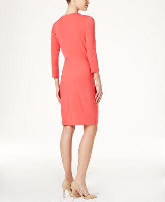 Charter Club Petite Faux-Wrap Dress, Created for Macy's - Green P/XS