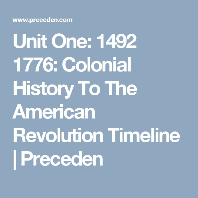 Unit One: 1492 1776: Colonial History To The American Revolution Timeline | Preceden