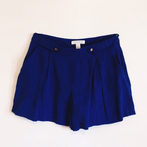 Royal Blue Shorts Royal blue color shorts from forever 21, only worn twice. Gold buttons, semi-high waisted. Forever 21 Shorts