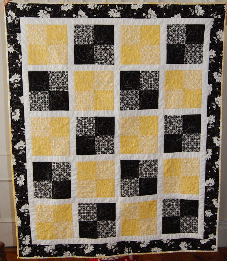 Bumblebee Quilt.  So pretty and a wonderful use of only 5 patterns and a solid. #easy #yellow&black #quilt #4square