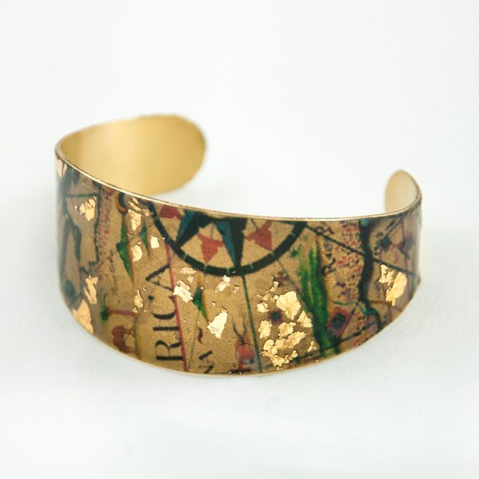 Maps Bracelet Bronze, gold leaf, resin