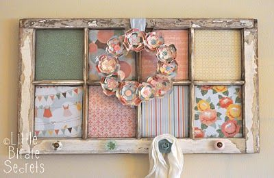 Repurposed Window Frame with Scrapbook Paper & Anthropologie Knobs = Darling Coat Hanger for a Foyer