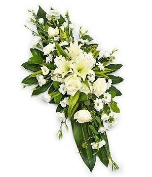 White Double Ended Spray - Choosing the right flowers for a funeral is often dictated by ones relationship to the recently deceased or bereaved. Our trained staff can provide an insight and guidance to help you choose the correct item for the occasion. Beautiful Funeral and Sympathy flowers from a local florist. Passion For Flowers