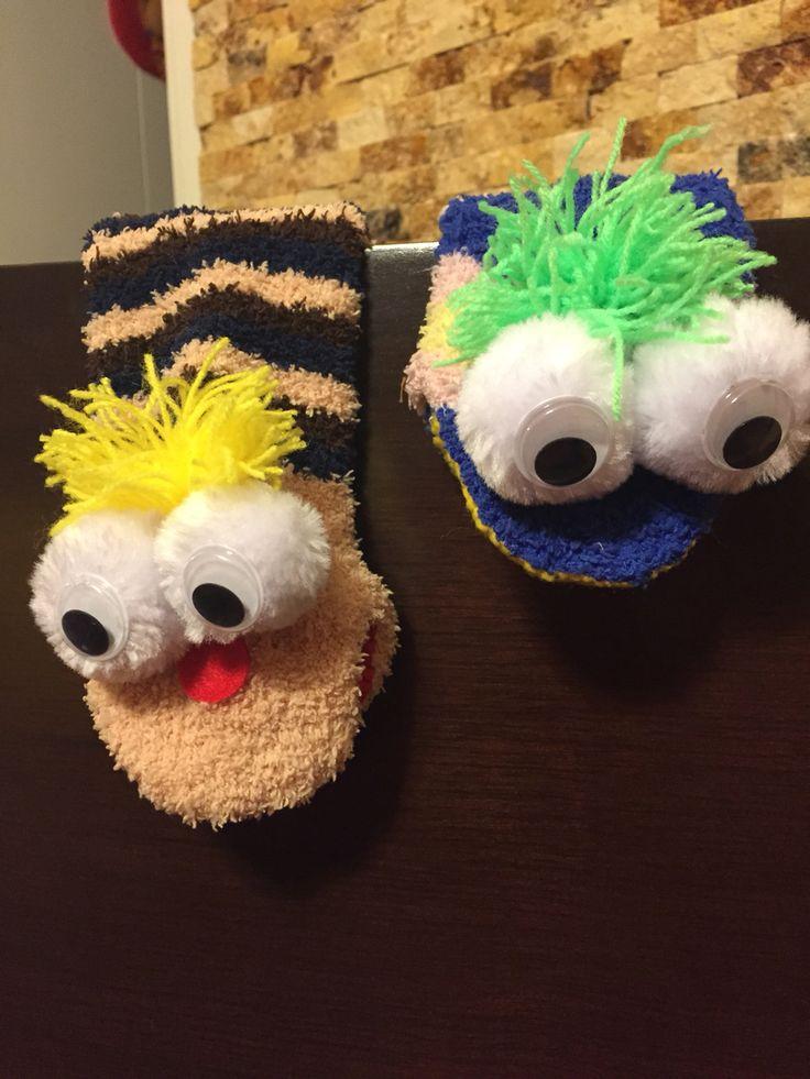Titeres hechos de calcetines, faciles para hacer con los niños!