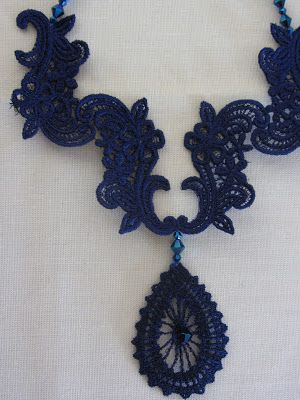 close up of lace necklace