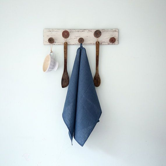Blue linen tea towels Set of two Hand or dish towels by CozyLinen