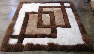 Peruvian Alpaca fur rug with geometric design