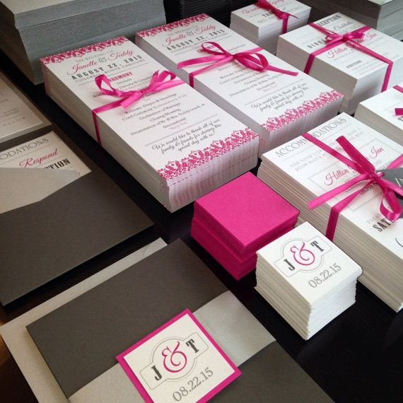 Charcoal and Hot Pink Wedding Invitations by InspirationIDoDesign