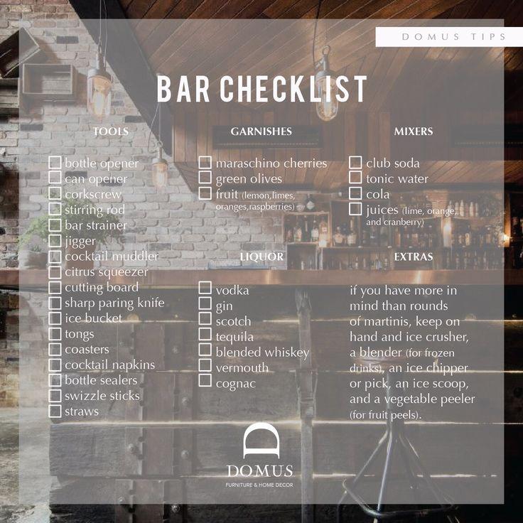 Tips from domus Bar Checklist