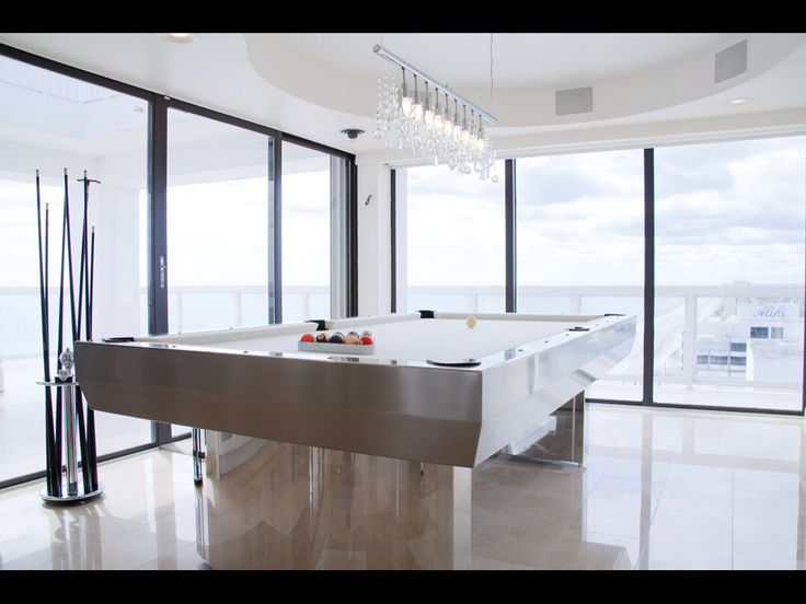 Marvelous Custom Stainless Steel Pool Table With White Felt. Oceanfront Penthouse.  3000 N Atlantic Avenue