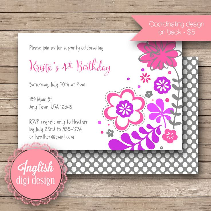 76 best Kids Party Invitations images – Flower Party Invitations