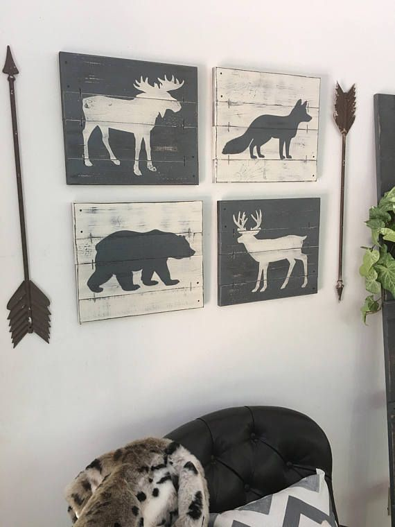 This set of 4 rustic woodland animal paintings is the perfect touch in any woodland themed room, from cabin family rooms to woodland nurseries or rustic bedrooms! The set includes a moose, a bear, a deer, and a fox each painted on a 14 x 12 wood slat canvas. The paintings are then hand distressed using our unique technique. Decorative nails complete the rustic look! Ready to hang with hanging wire already attached.  CHOOSE YOUR OWN COLORS! Choose from our 18 paint colors (shown in photo #5)…