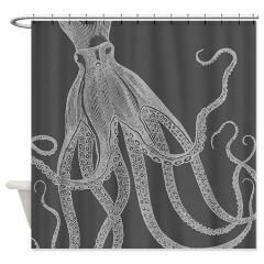 Vintage Octopus Shower Curtain In Grey Shower Curt > Vintage Octopus in Designer's Grey > Victory Ink Tshirts and Gifts