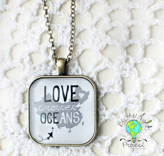 LOVE Crosses Oceans CHINA Square Pendant Tray Necklace
