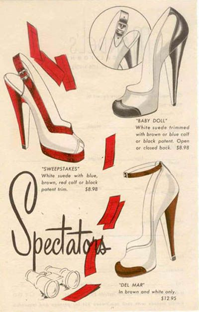 1940s Spectators Shoes Color Illustration Print Ad Vintage Fashion Style Wwii War Era Red Black