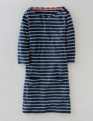 Casual . Cotton Striped Dress .