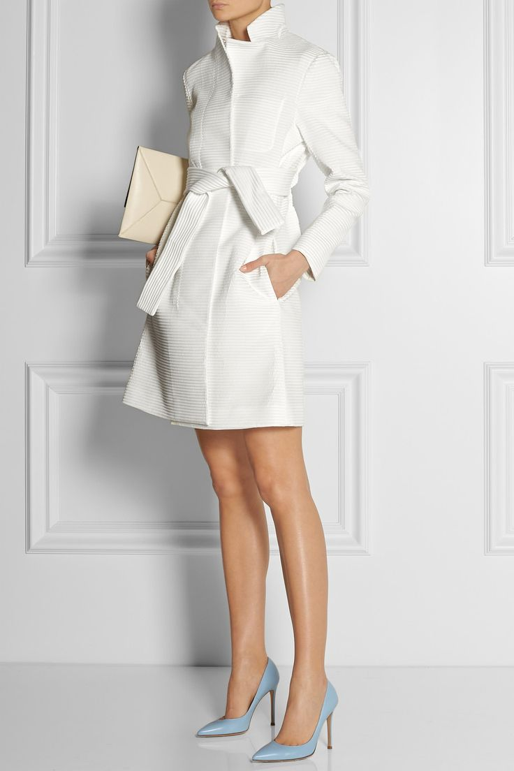 Maiyet | Ribbed jacquard trench coat | MOSCHINO Cheap &Chic |  Paneled crepe mini dress | Gianvito Rossi | Leather pumps | Stella McCartney | Faux leather clutch |