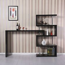 Black Bar Table Wooden Storage Shelves Wine Drinks Tables Breakfast Dinner Stand This looks nice when used as a divider