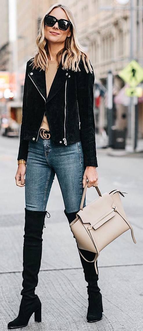 #winter #outfits beige top, jeans, long boots, black suede jakcet, beige bag