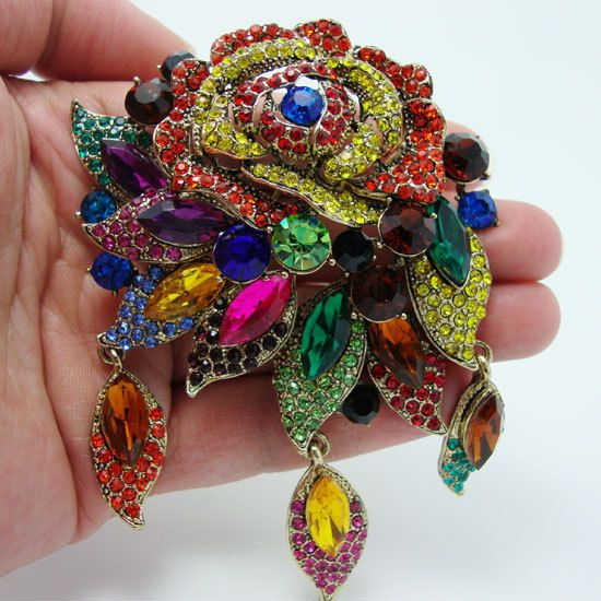 Fashion Vintage Style Art Deco Flower Rose Brooch Pin Pendant Colorful Rhinestone Crystal US $16.49