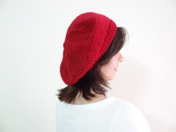 Pomegranate Flower Red Hat BeanieKnit Beanie Hand by SwomanStore