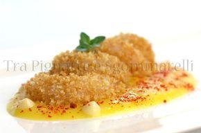 Finta frittura di gamberi rosa, con crema di patate allo zafferano, maionese d'aglio e polvere di peperone rosso   Tra pignatte e sgommarelli