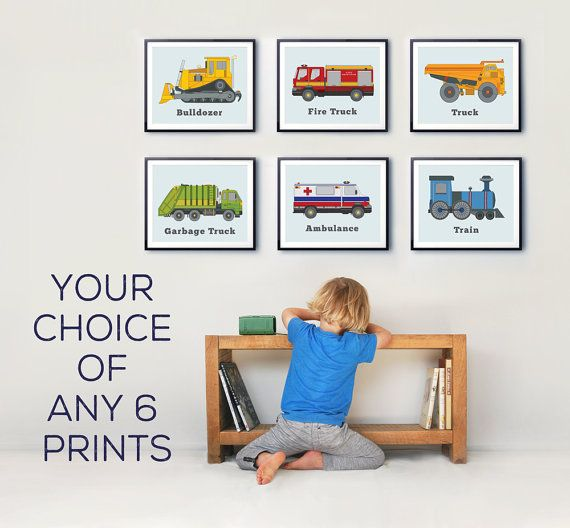 Your choice of six truck prints to finish off the decor in the transportation fascinated childs room. These colourful illustrations are loved by older kids as well as young making them the perfect addition to any nursery, toddlers room, or play room.  I am happy to customise orders for your space so please dont hesitate to contact me. ---------------------------------------------------------------------------------  HOW TO ORDER: In the notes section at checkout write: 1. Your six print…