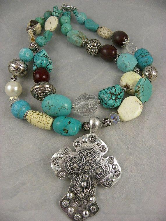 Chunky  Western Turquoise Double Strand  by DesignsofFaithandJoy, $50.00