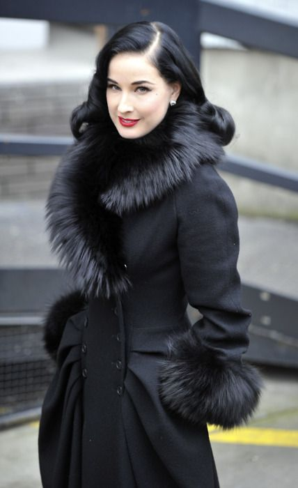 dita von teese in black fur coat