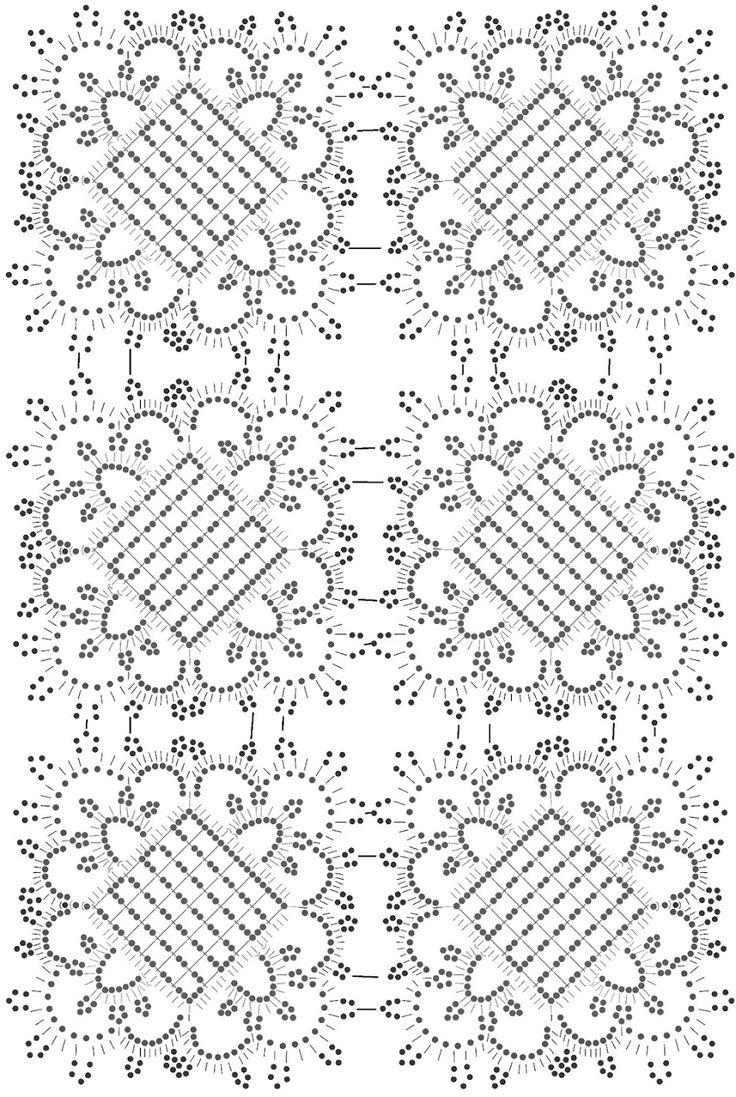 Вязание крючком прямоугольной салфетки. Схема.