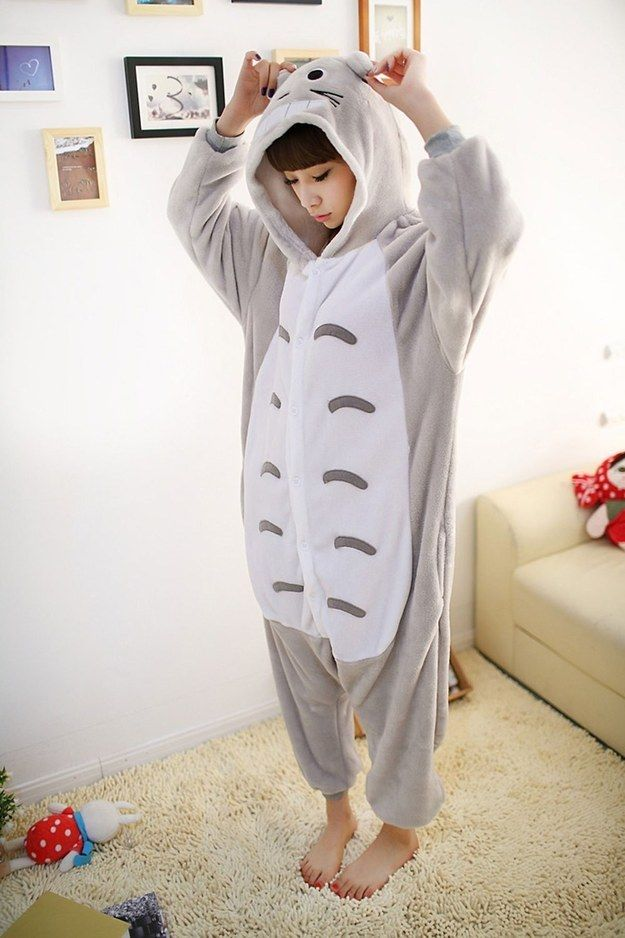 This Totoro onesie pajama ($12 to $33) that swaddles your body in comfort. | 13 Things You Need At The End Of A Long Day
