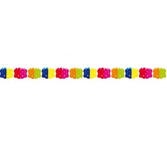 Papieren slinger 18 jaar. Gekleurde slinger voor een 18 jarige verjaardag. Deze papieren slinger 18 jaar is 6 meter lang.