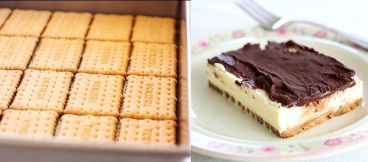 Sütés nélküli kekszes varázsszelet