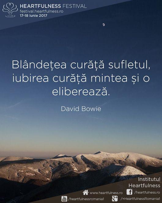 Blândețea curăță sufletul, iubirea curăță mintea și o eliberează. ~ David Bowie #cunoaste_cu_inima #meditatia_heartfulness #hfnro Heartfulness festival | 17 - 18 iunie 2017 | Timișoara Mai multe detalii: http://festival.heartfulness.ro Meditatia Heartfulness Romania