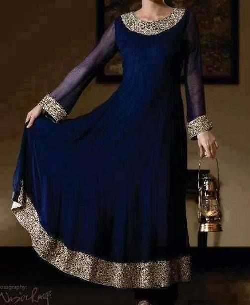 Navy blue anarkali with dull gold border. Love it!