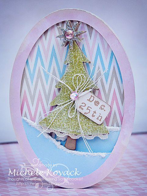 Pretty Pastel Christmas card using the Cricut and the Creative Memories  Tis the Season Cartridge.